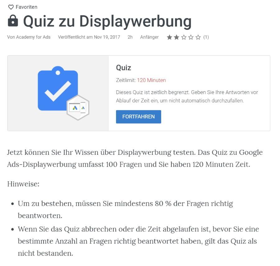 google ads displaynetzwerkwerbung pruefung Lösung: Google Ads Displaynetzwerkwerbung Prüfung