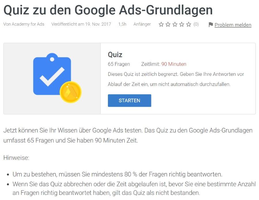 google ads grundlagen pruefung Lösung: Google Ads Grundlagen Prüfung