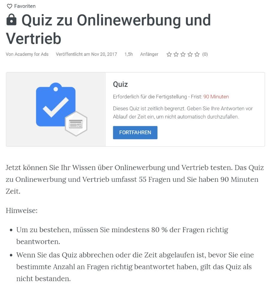 google ads onlinewerbung vertrieb pruefung Lösung: Zertifizierung für Onlinewerbung und Vertrieb