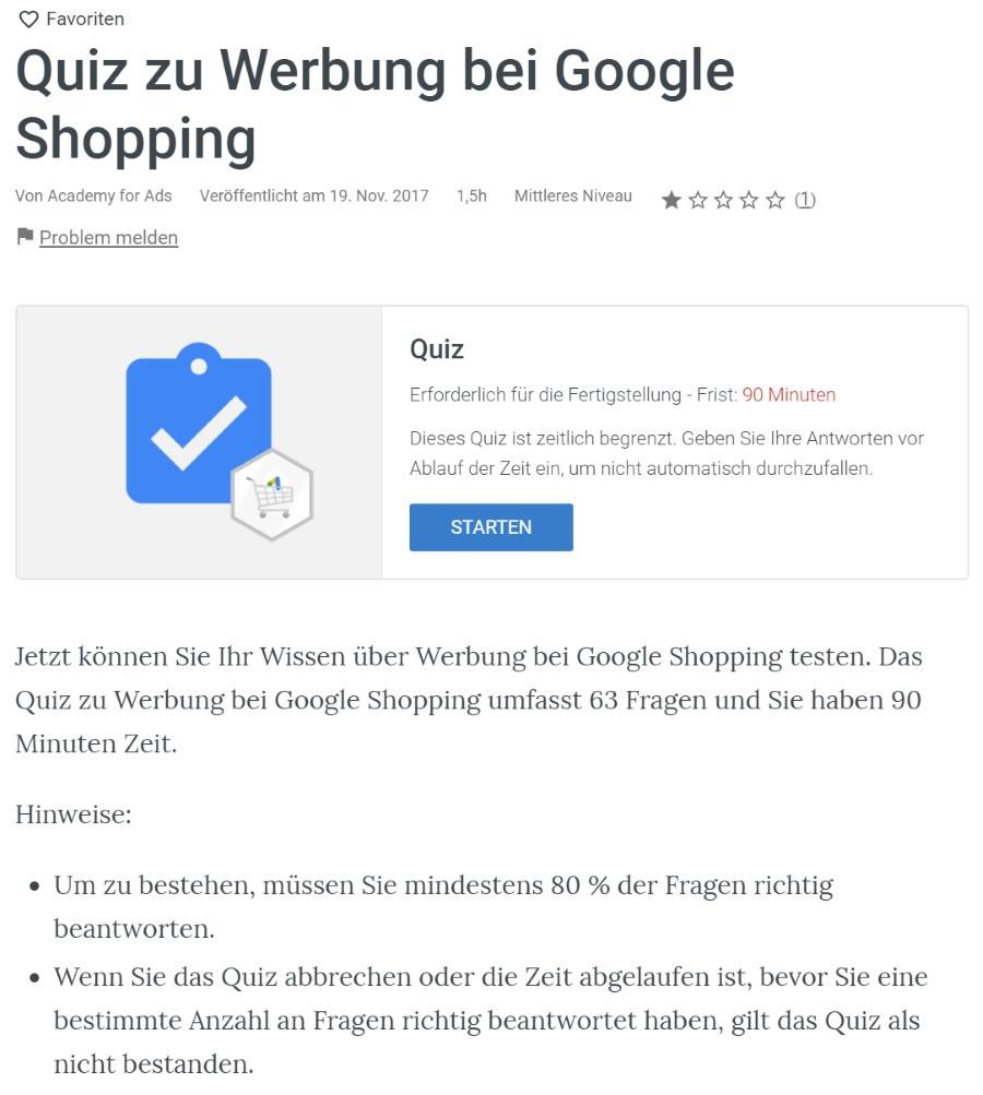google ads shopping anzeigen pruefung Lösung: Google Ads Shopping Anzeigen Prüfung