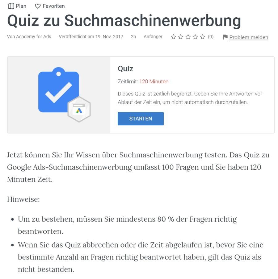 google ads suchmaschinenwerbung pruefung Lösung: Google Ads Suchmaschinenwerbung (SEM) Prüfung