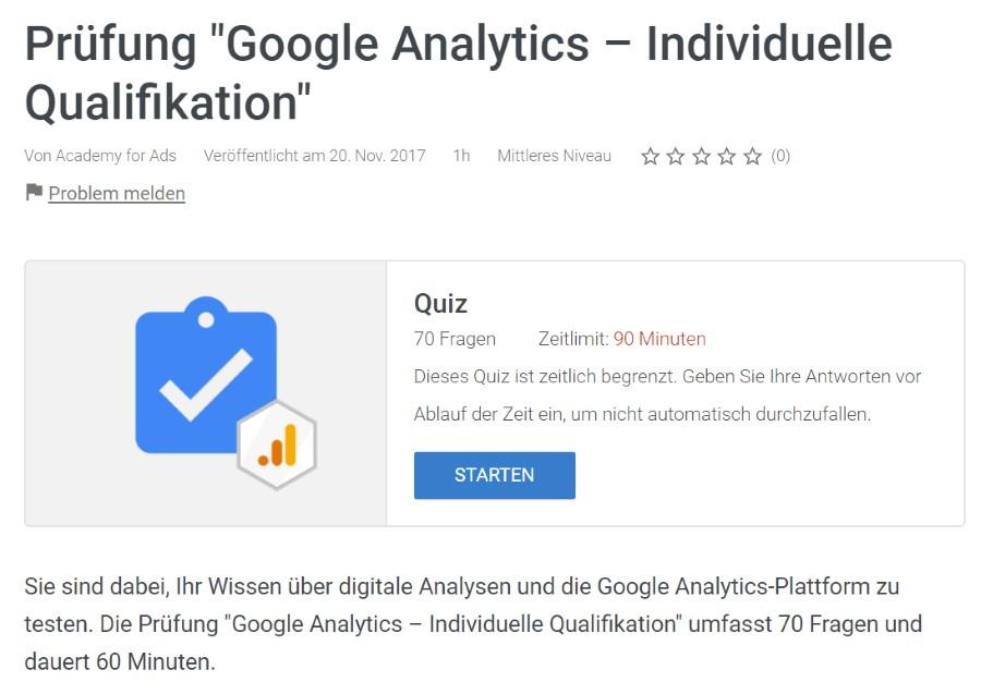 google analytics individuelle qualifikation pruefung Lösung: Google Analytics Individuelle Qualifikation Prüfung