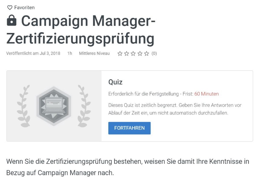 google marketing platform campaign manager pruefung Lösung: Google Marketing Platform Campaign Manager Prüfung