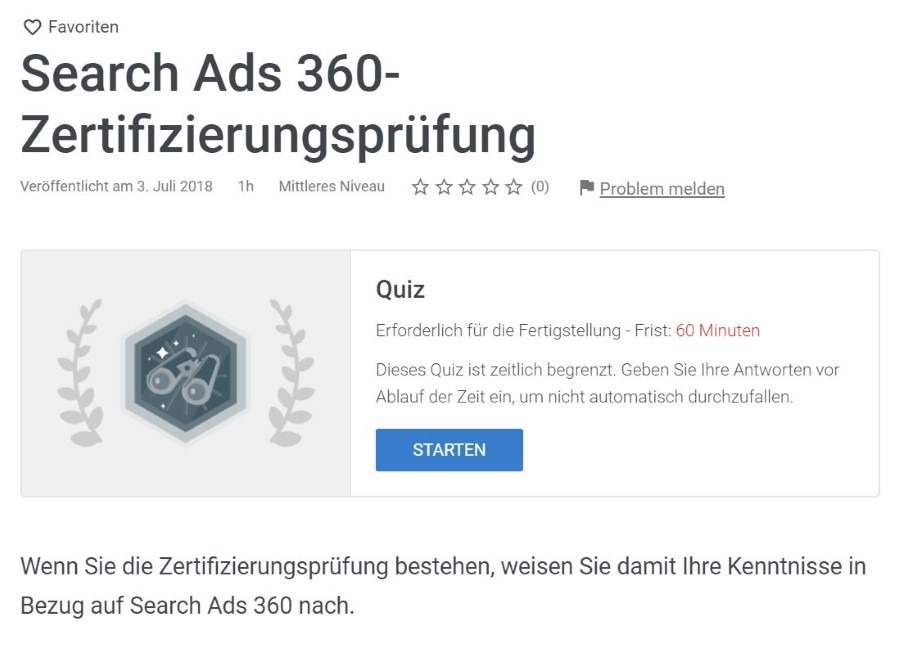 google marketing platform search ads 360 pruefung Lösung: Google Marketing Platform Search Ads 360 Prüfung