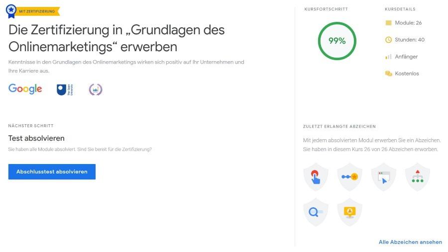 google zukunftswerkstatt grundlagen onlinemarketing lektionen Lösung: Grundlagen des Onlinemarketings Lektionen