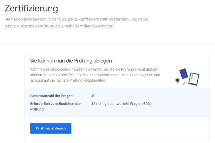 google zukunftswerkstatt grundlagen onlinemarketing pruefung Lösung: Grundlagen des Onlinemarketings Zertifizierung