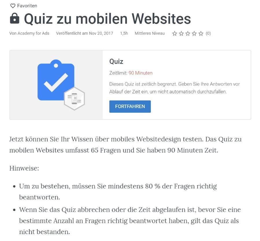 mobile websites pruefung Lösung: Zertifizierung für Mobile Websites
